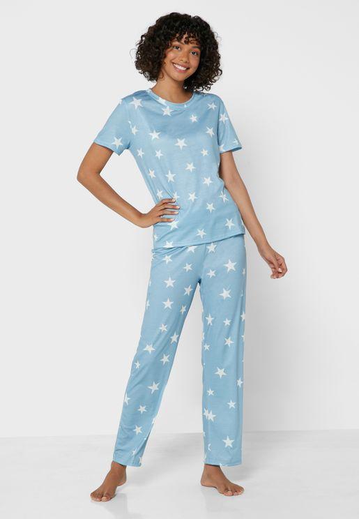 Star Print Pyjama & T-Shirt Set