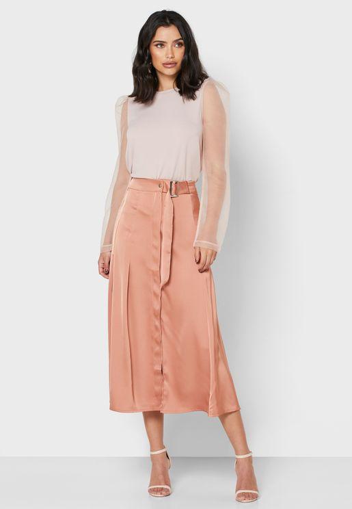 Detailed Belted Midi Skirt