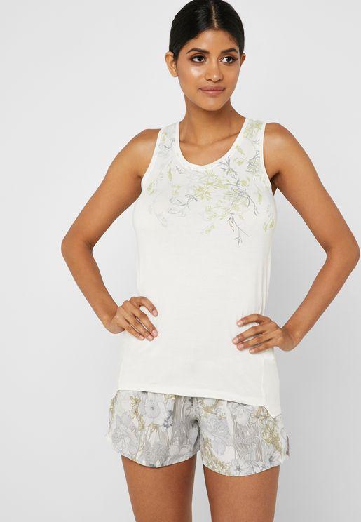 Floral Print Tank Top & Shorts Pyjama Set