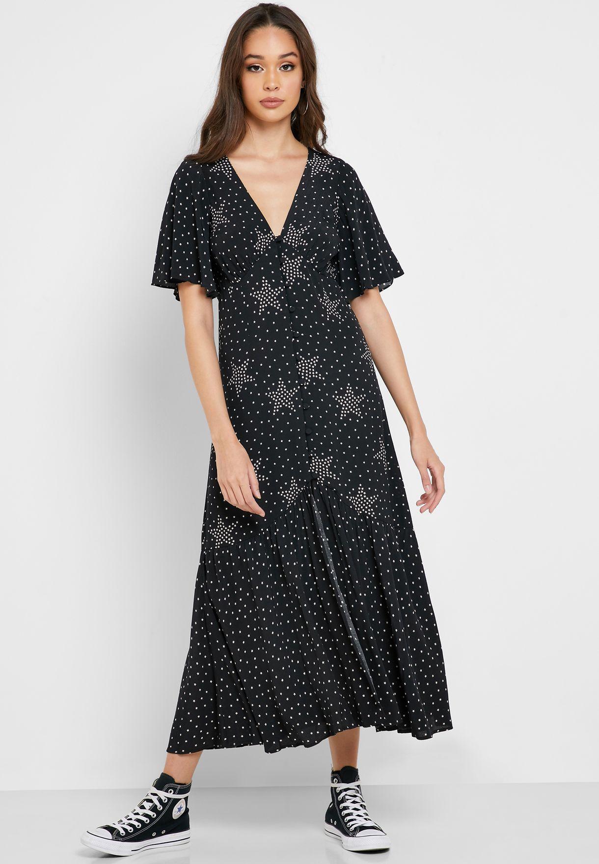 Star Button Angel Sleeve Dress