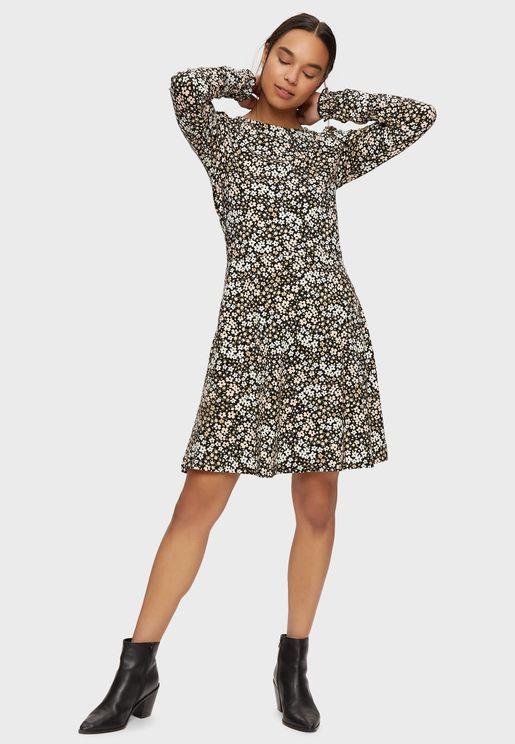 Puff Sleeves Printed Miini Dress