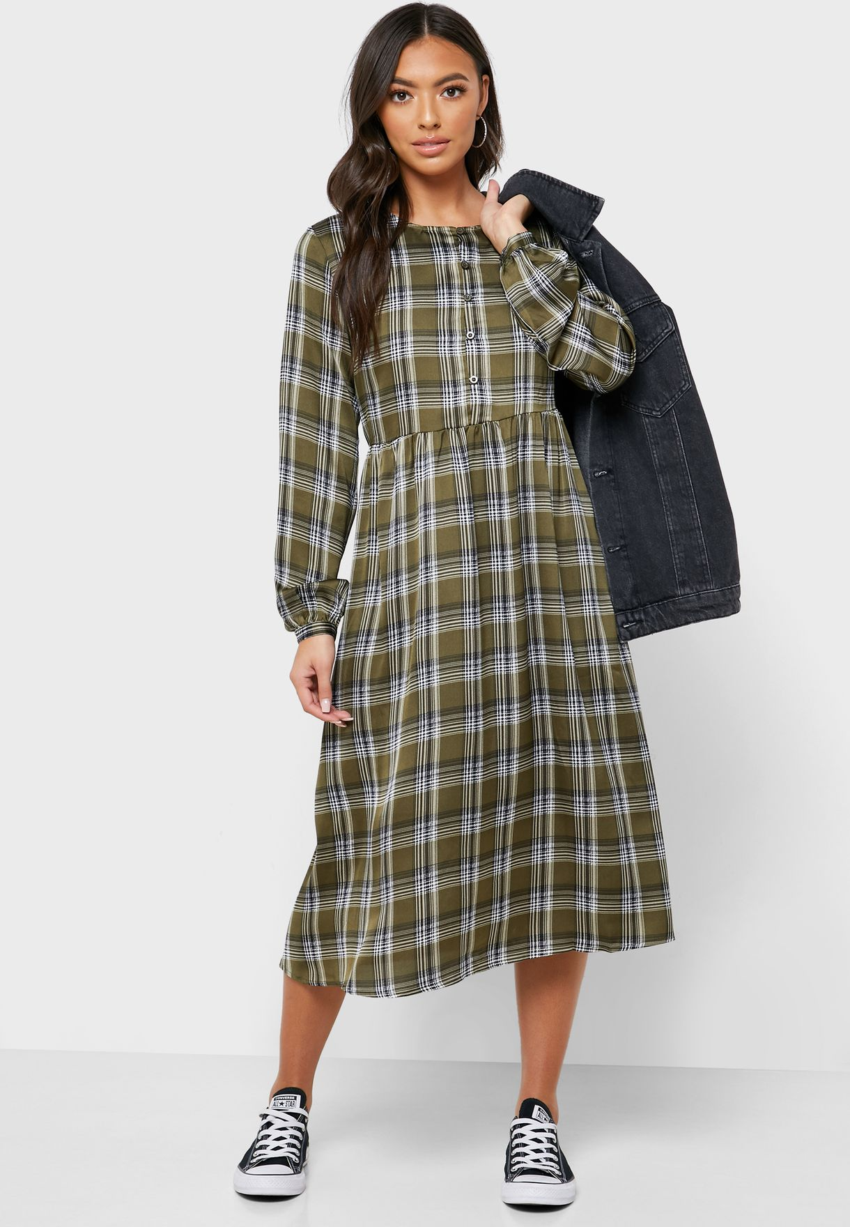 Checked Print  Dress
