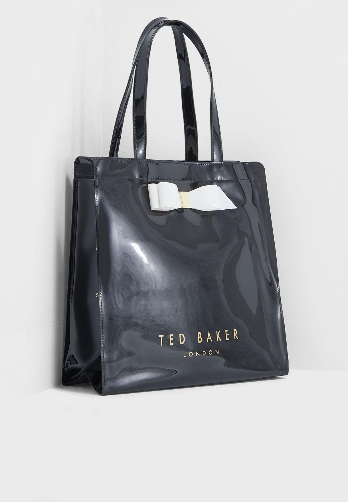72efa0ac041f22 Shop Ted baker black Almacon Bow Detail Large Icon Shopper 151153 ...
