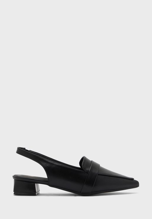 Pointed Slingback Flat Shoe With Tab