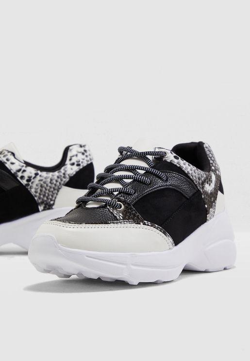 Panelled Mono Snake Sneaker