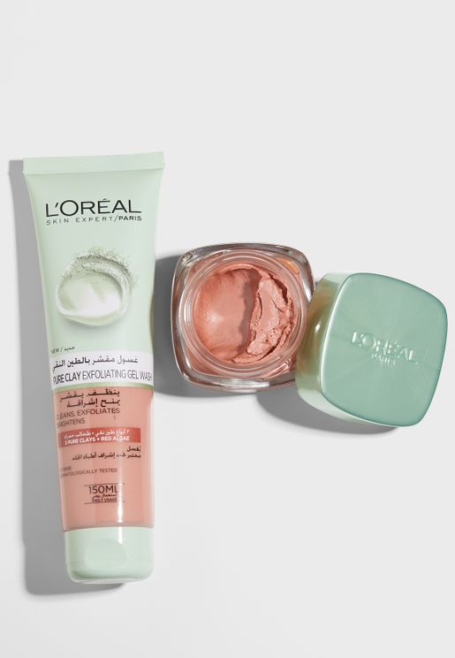 Pure Clay Red Algae Face Mask + Cleanser Set