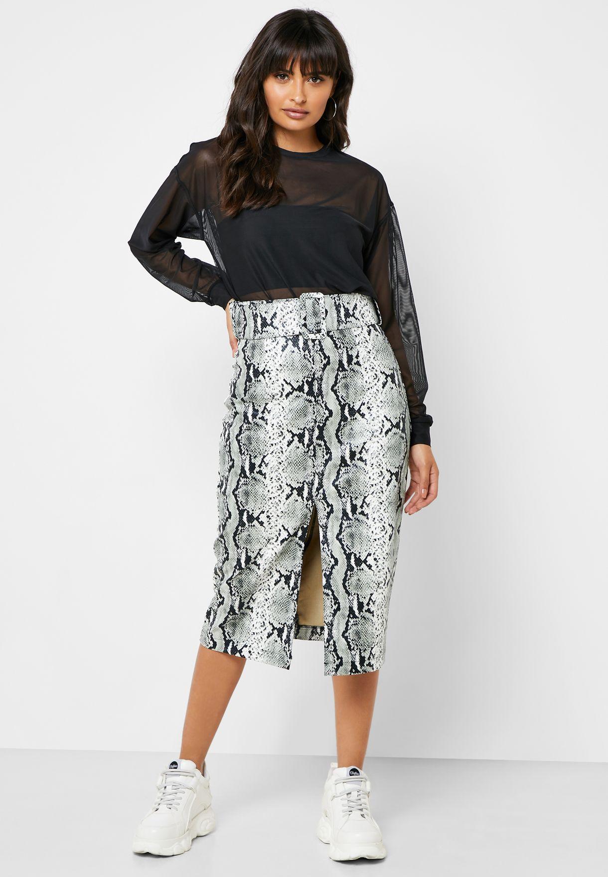 Front Split Snake Print Skirt