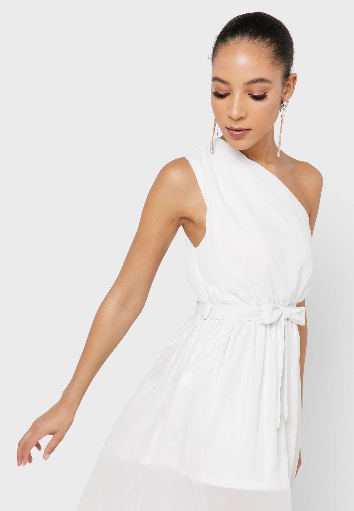 فستان مكسي بكتف واحد واربطة