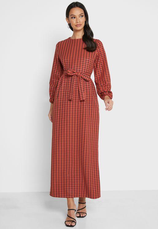 Pocket Detail Checked Dress