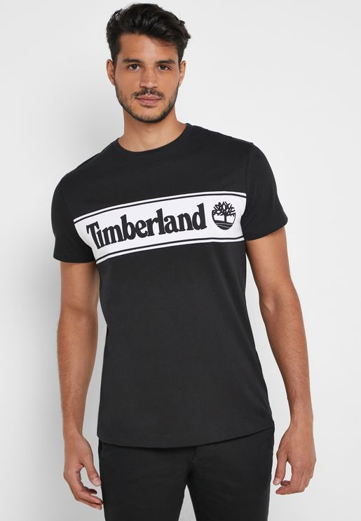Cut & Sew Linear Logo  T-Shirt