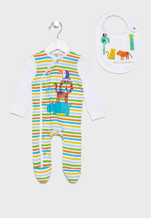 Infant Striped Romper + Bib Set
