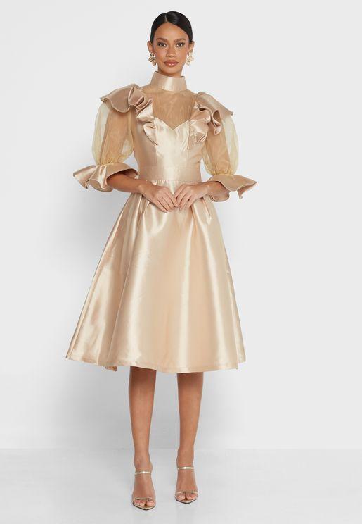 Debbie Mesh Sleeves Dress