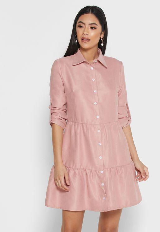 Ruffle Hem Shirt Mini Dress