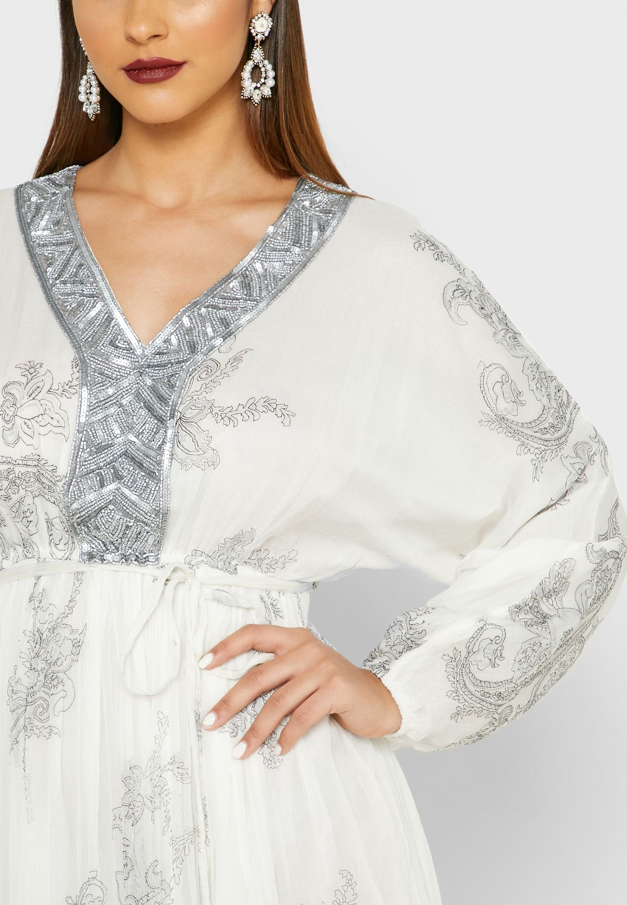 Embellished Yoke Printed Dress