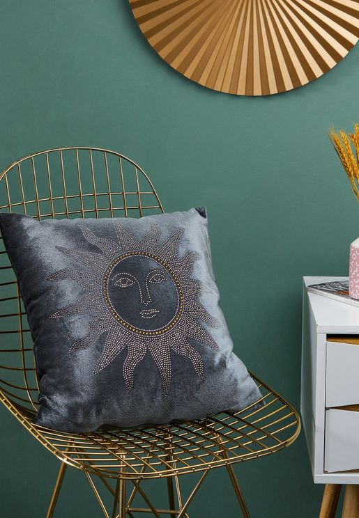 Grey Embellished Sun Cushion With Insert 45cm x 45cm