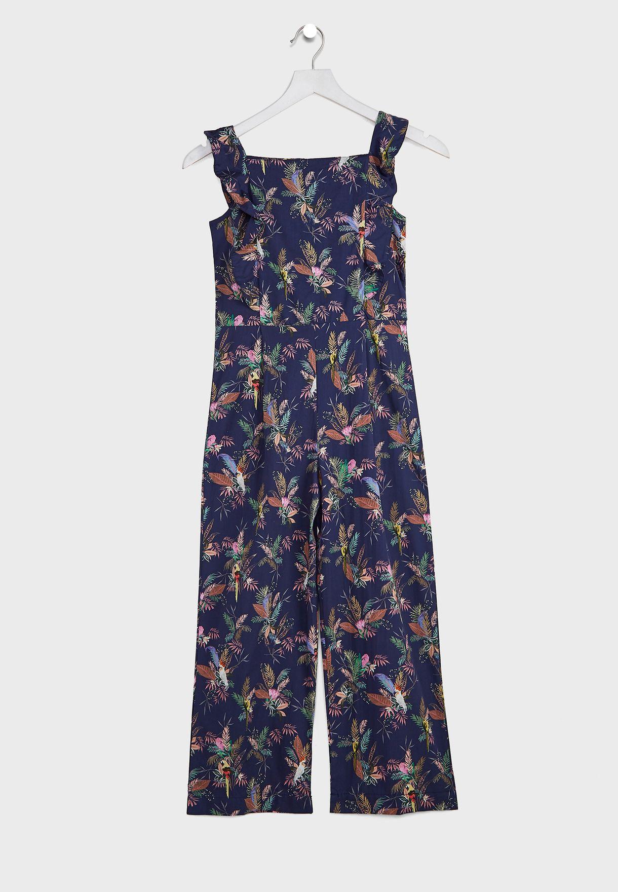 Kids Tropical Print Jumpsuit