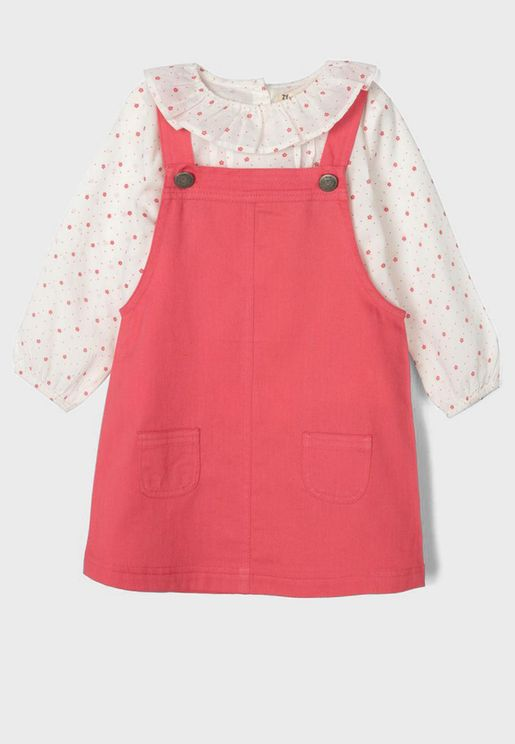Infant Ruffle Dungaree Set