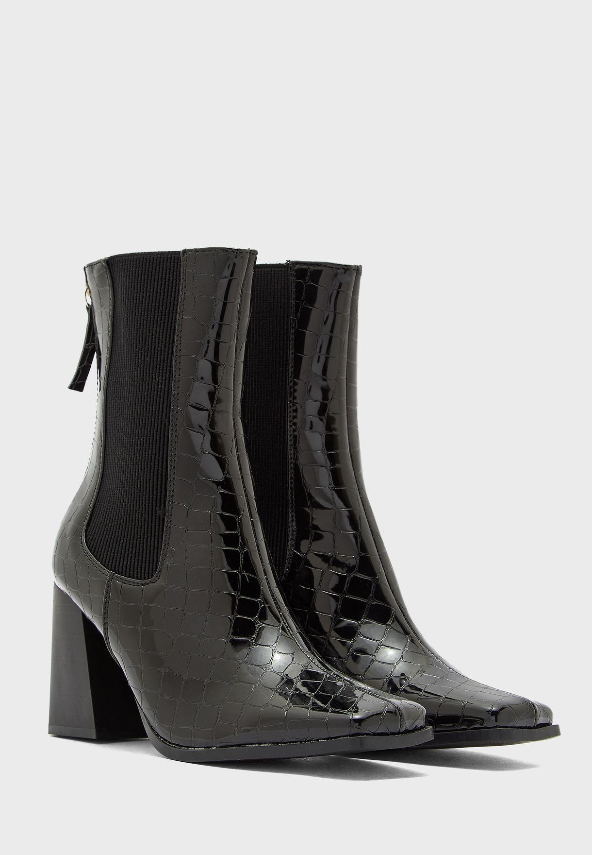 Patent Croc Effect Block Heel Boot