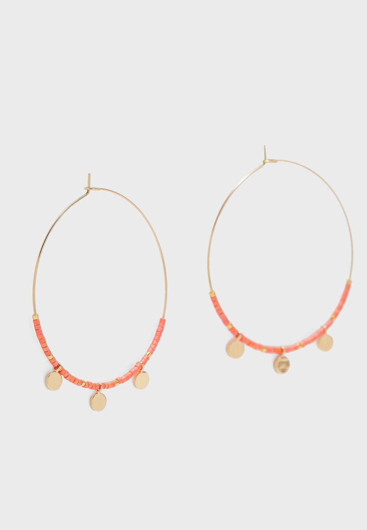 Coin Charm & Seedbead Hoops Earrings