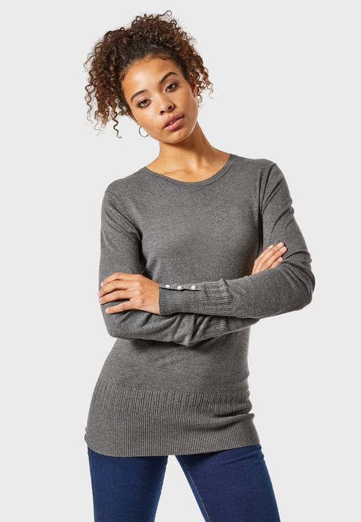 Crew Neck Pearl Detail Sweater