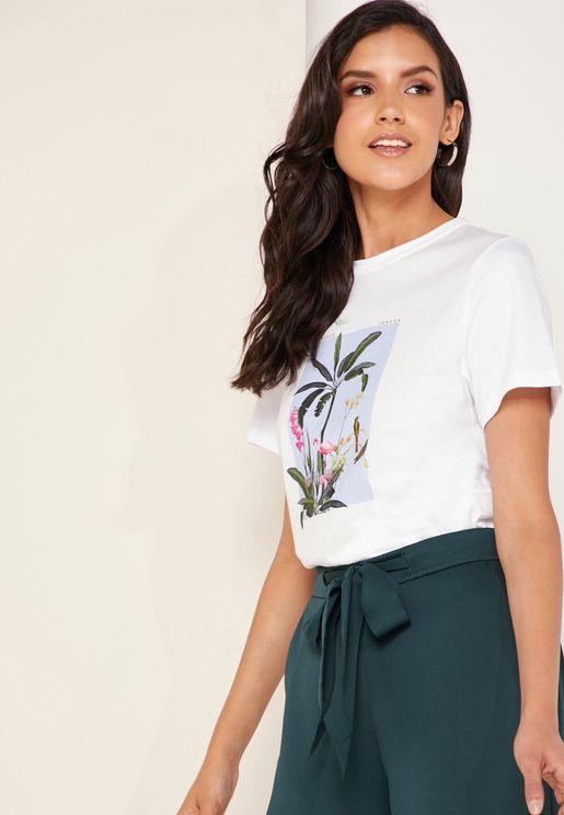 Jacqi Pistachio Printed T-Shirt