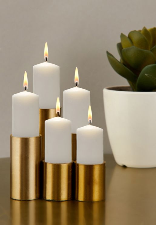 Set Of 5 Gold Magnetic Candle Holders
