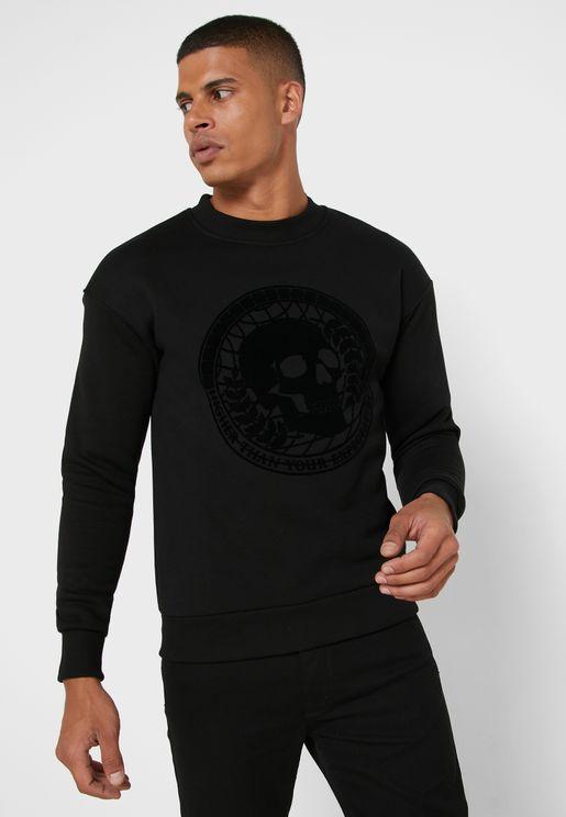 Skull Print Relaxed Sweatshirt