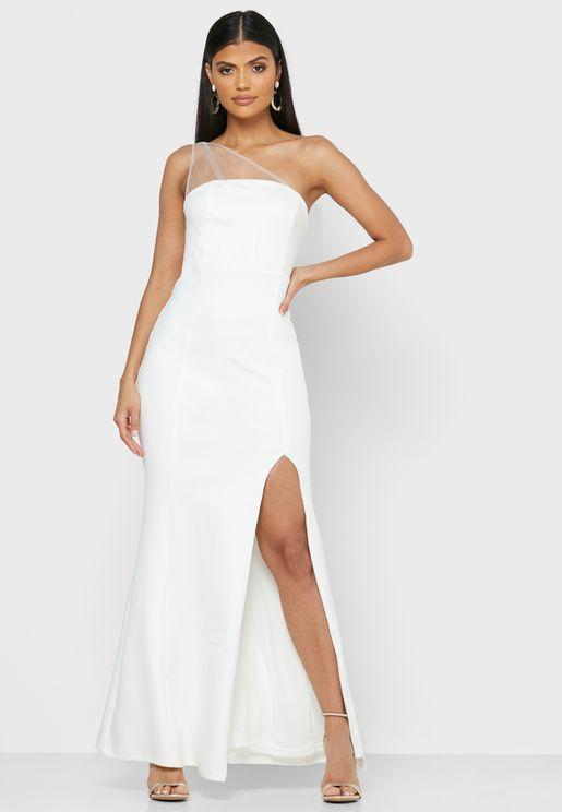 One Shoulder Mesh Maxi Dress