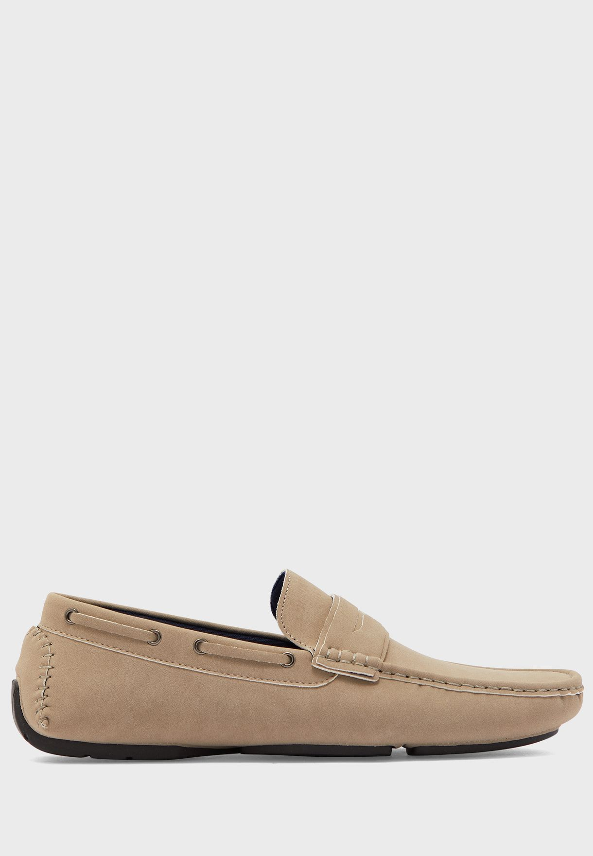 Faux Suede Saddle Detail Loafers
