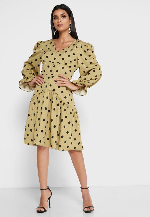 Polka Dot Flute Sleeve Dress