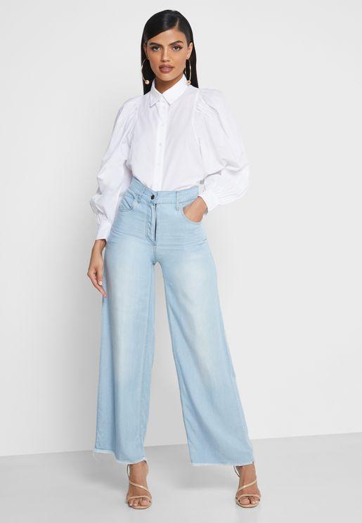 بنطال جينز بشراشيب