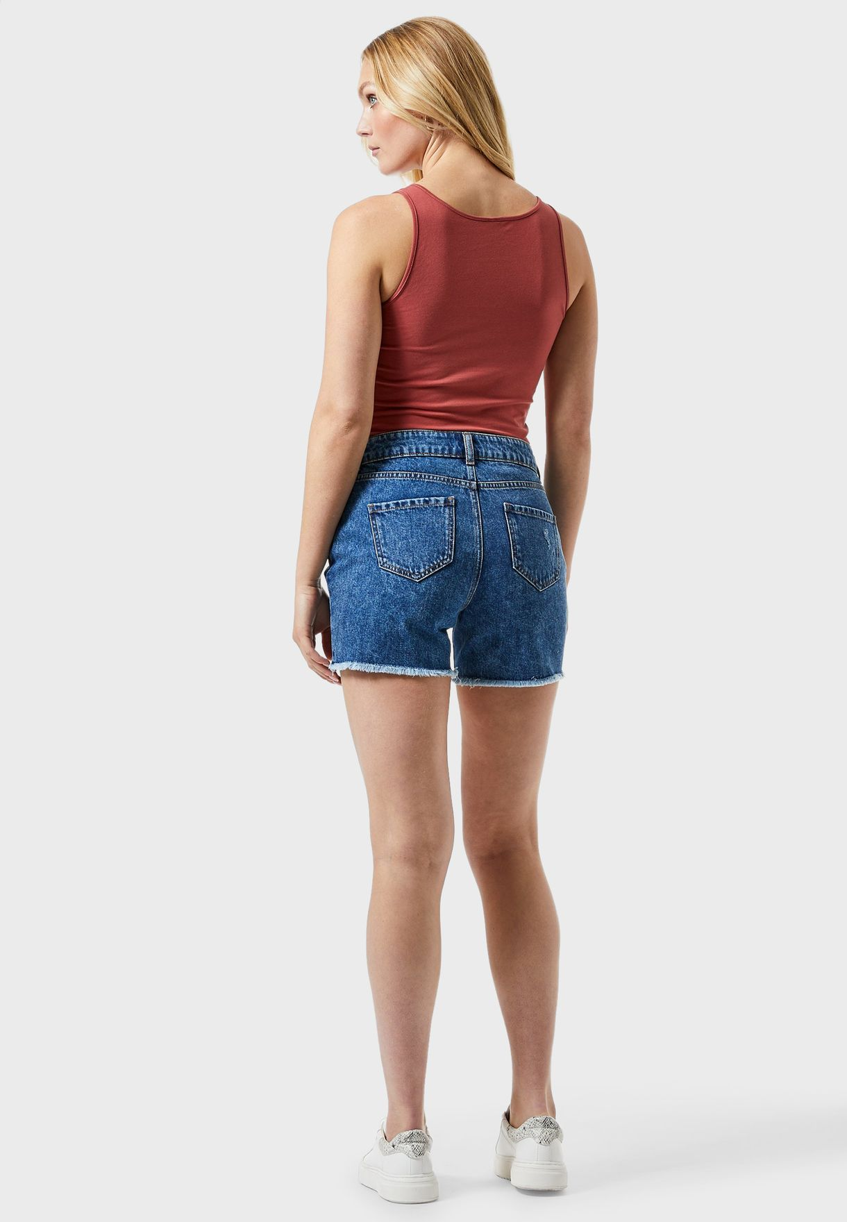 Ripped Denim Boy Shorts