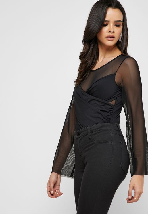 Wide Sleeve Mesh Detail Body