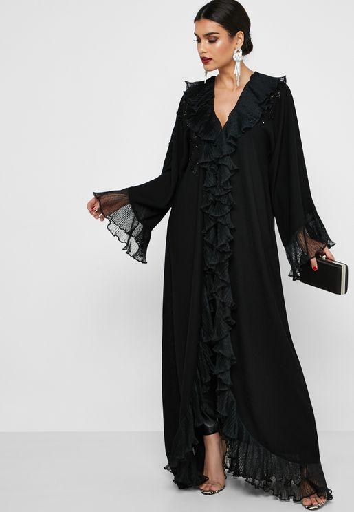 Frill Front Embellished Abaya