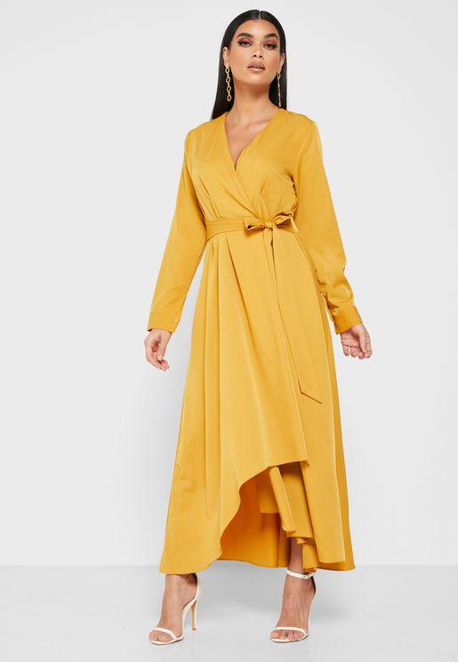 Wrap Front Detail Midi Dress