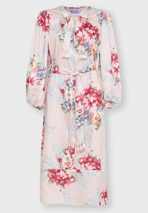 Floral Print Tie Neck Self Tie Midi Dress