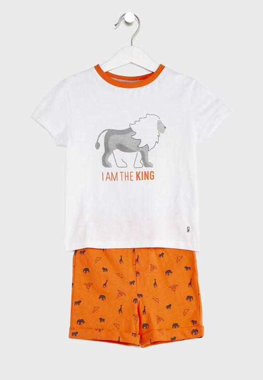 Kids Lion Print Pyjama Set