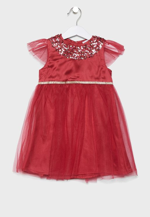 Kids Velvet Sequin Dress