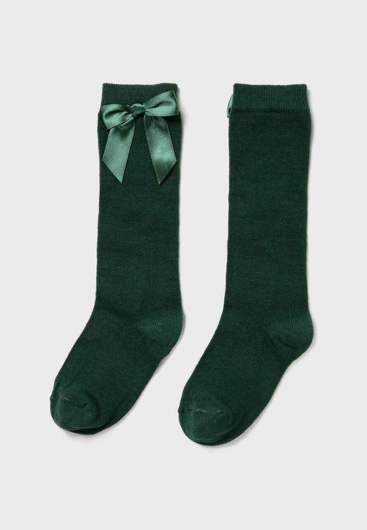 Kids Bow Detail Knee High Socks