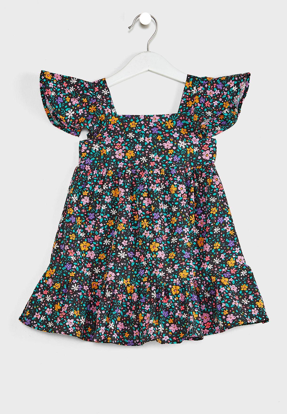 Kids Sprinkled Ditsy Ruffle Detail Dress