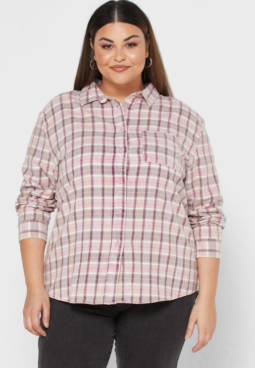 Checked Button Detail Shirt