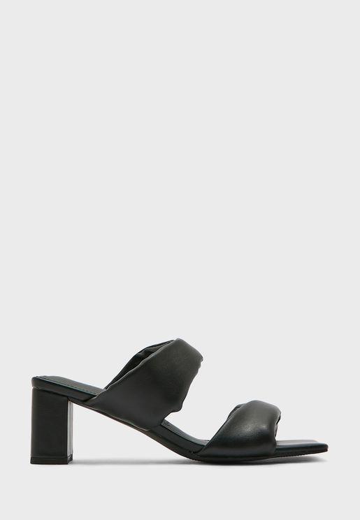 Double Strap Mid Heel Sandals