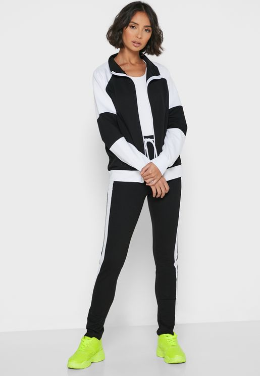 Contrast Side Paneled Zip Joggers Set