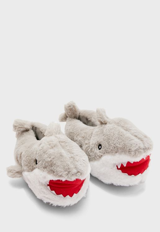Mens Novelty Shark Bedroom Slippers