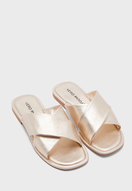 Timi Cross Strap Flat Sandal