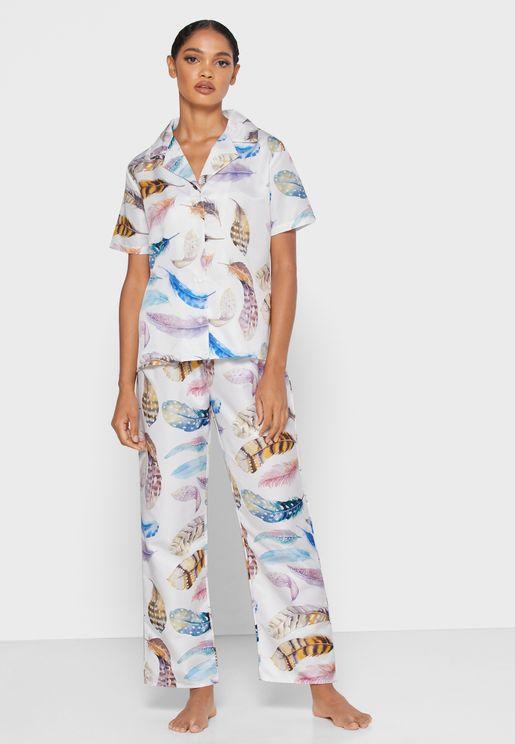 Feather Print Shirt Pyjama Set