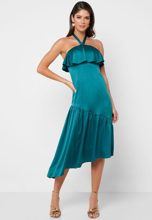 Asymmetric Halter Neck Pleated Dress