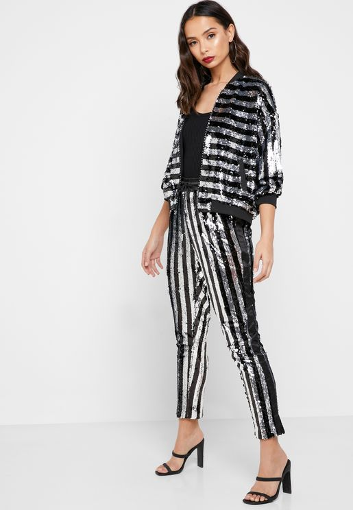 Striped Sequin Pants