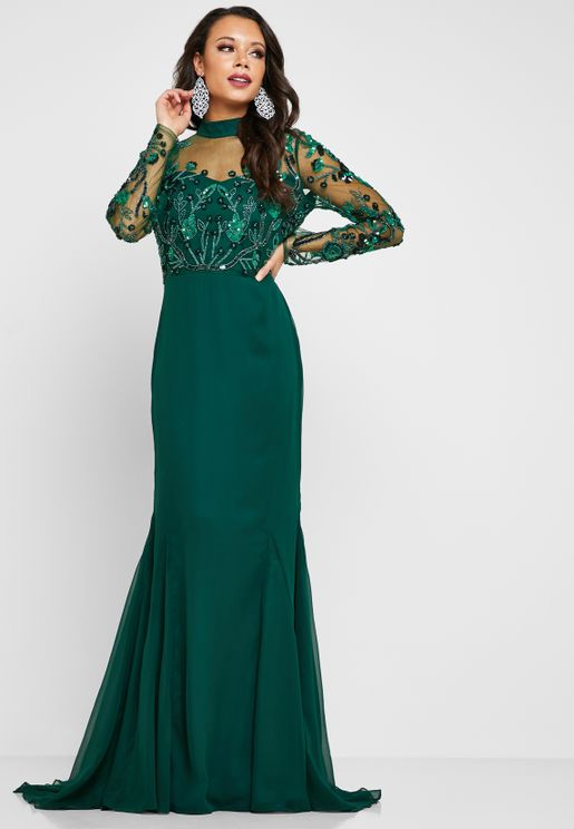 4955ffa9927 Colly Embellished High Neck Maxi Dress