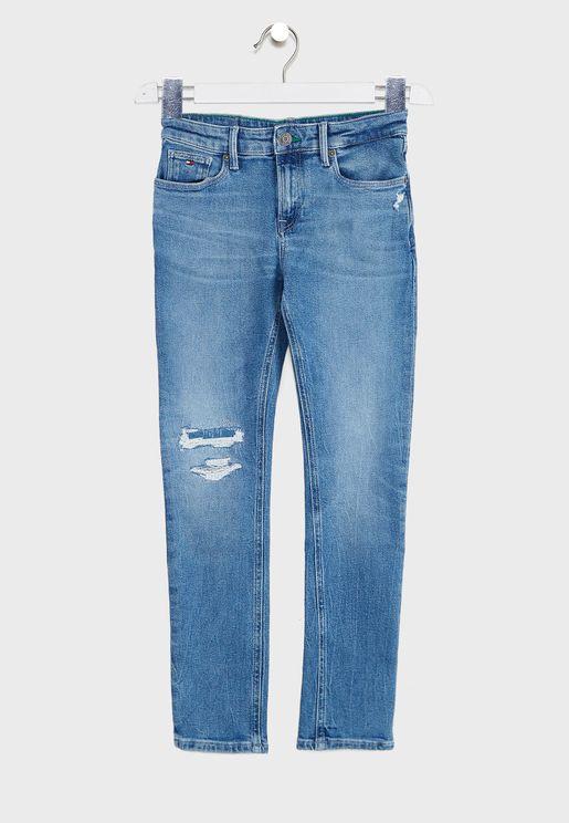 Teen Distressed Slim Fit Jeans